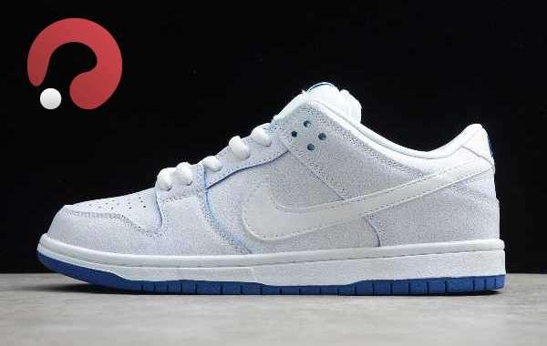 2020 Nike SB Dunk Low Pro White-Game Royal For Sale CJ6884-100