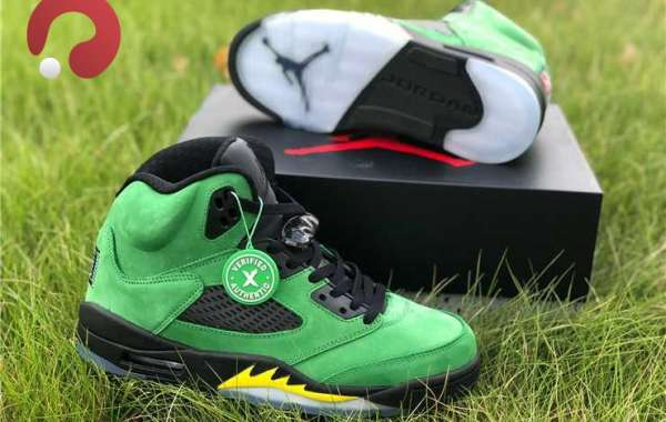 "2021 Air Jordan 5 Retro SE ""Oregon Ducks"" Apple Green Black Sale CK6631-307"