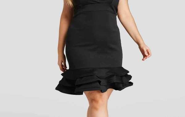 V-Neck Floral Print Wrap Long Sleeve Ruffle Hem Black Plus Size Dress