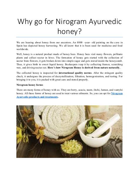 Why go for Nirogram Ayurvedic honey?