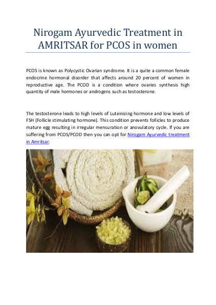 Nirogam Ayurvedic Treatment in AMRITSAR for PCOS in women